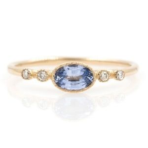 London Blue Topaz & CZ Stones on Gold Plated ring